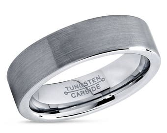 Men's Wedding Band Brushed Tungsten Carbide Unique Mens Wedding Band Mens Wedding Ring Tungsten Ring Man Wedding Band 6mm Wedding Band Ring