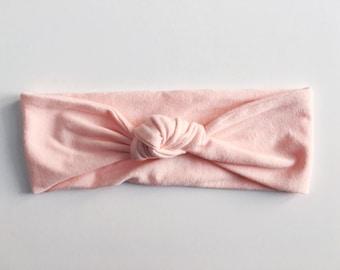Light Pink Top Knot Headband / Knotted Headband / Baby Turban / Baby Gift / Toddler Headband / Macie and Me / Adult Headband