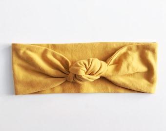 Mustard Yellow Top Knot Headband / Knotted Headband / Baby Turban / Baby Gift / Toddler Headband / Macie and Me / Adult Headband