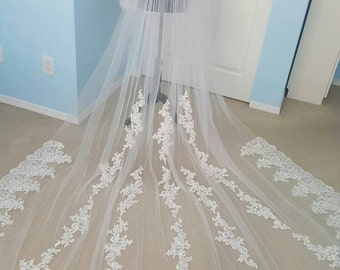"""Bridal Light Ivory or White Lace With Applique Veil Cathedral Length 2 Tiers Raw Edge Blusher 36""""/ 120"""" x 108"""" Made To Order"""