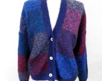Vintage Mohair Multi Coloured Hand Knit Cardigan     Size M / L
