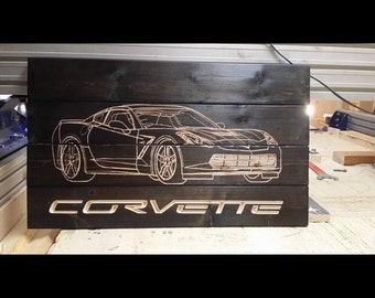 Corvette Carved Pallet Sign