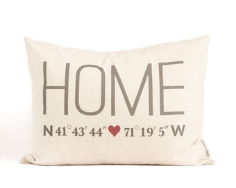 Realtor Closing Gift, Home Coordinates Pillow, Just Moved, Off to College, Home Pillow, Personalized Pillows, Custom Pillow