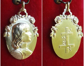 French Saint Joan of Arc Medal Art Nouveau 18K Gold Plated Religious Catholic Jewelry St. Joan of Arc Warrior Saint Art Nouveau