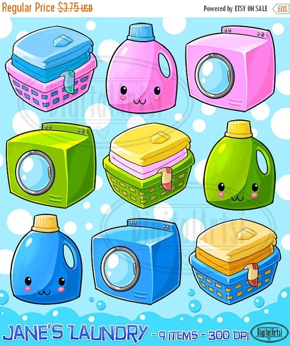 50% OFF Kawaii Laundry Clipart Household Chores Download