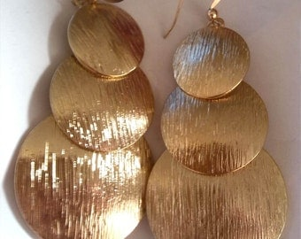 Chunky Round Gold Tone Statement Earrings, Round