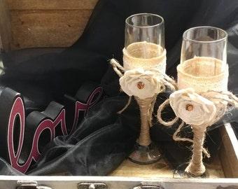 Rustic Burlap Champagne Flutes