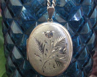 Sterling Silver Satin Finish Oval Locket Pendant And Necklace
