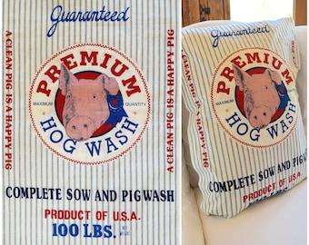 "Feedsack Fabric/ Premium Hog Wash Farmhouse Decor/ Retro Reproduction Grain Sack/ Happy Pig Fabric/ Blue Ticking Stripe Fabric: 45""x 35"""