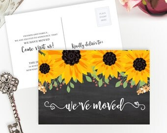 We've moved cards PRINTED | Change of address cards | Moving announcements personalized | 4X6 moving postcards with sunflower