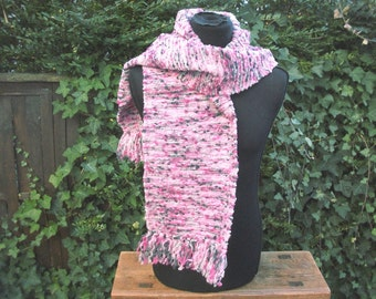 handgewebter scarf, long and thick, wool, Pink Pink grey anthracite, cuddly wild warm, 180 cm x 27 cm without fringes, boho, ooak
