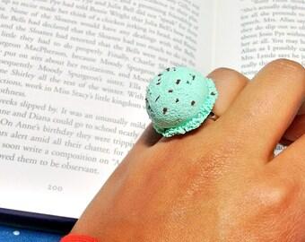 Mint Chocolate Chip ice cream ring/ Ice cream scoop ring/ Handmade polymer clay ice cream/ Adjustable