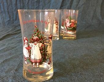Vintage Hollie Hobbie Christmas Water Tumblers, American Greetings Glasses