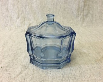 Vintage Indiana Glass Blue Concord Covered Candy Dish