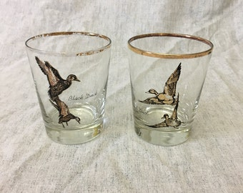 Vintage Sportsman Wild Duck Double Old Fashioned Glasses with Gold Trim, Set of 2