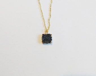 Black druzy quartz stone 24K gold plated o-ring chain necklace