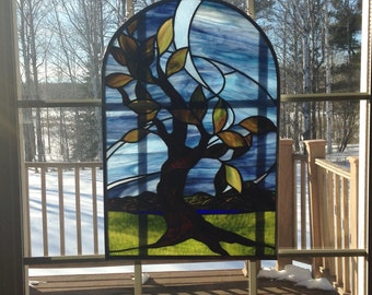 Stained Glass Window, Stained Glass Tree, Stained Glass panel, Leaded Glass Window, Stained Glass Mountains, Tree Stained Glass, Glass art