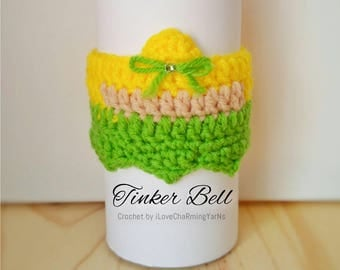 Tinker bell coffee cup cozy, cup cozy, crochet cup cozy disney cup cozy, tumbler cozy, coffee cozy, mug cozy,cup cozy,cup wrap,mug wrap cozy