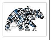 "Haida Bear, Tlingit Grizzly Art Print,Pacific Northwest Coast, Native American, First Nations Art - ""Kodiak"" 11x14 in BLUE"