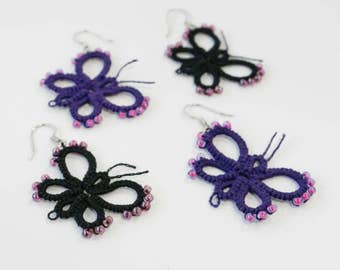 Little butterfly lace tatting dangle earrings with beads handmade