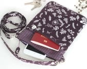 Sling bag Flower purse travel document purse crossbody small iphone case cell phone shoulder purse brown sling purseFree Gift