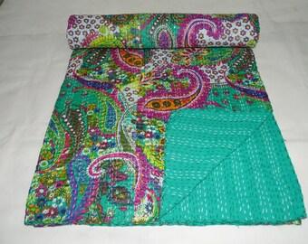 Indian Kantha Quilt Queen Size Bedsheet Handmade Throw Green Paisley Bedspread Bedcover New Kantha Throw Beautiful Bedsheet