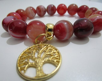 Agate Red agate bracelet Tree of life womens jewelry Beaded bracelet Womens bracelet Gift for women Natural stone bracelet Summer jewelry