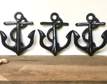 Anchor Wall Hook Set - Coastal Bathroom Decor - Nautical Coat Hooks - Beach Bathroom Wall Decor - Nautical Towel Rack - Beach Towel Hooks