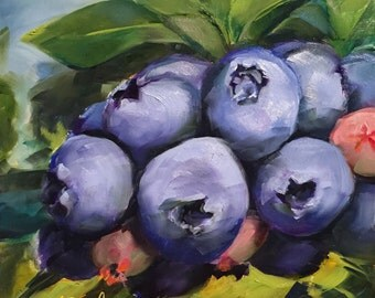 trusting intuition // original oil painting // original art // blueberry painting // blueberry art // kitchen art // blueberries