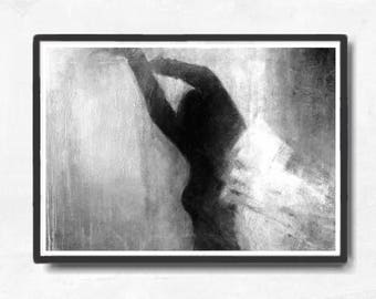 Instant download, large digital print, figure painting, Black and white, dreamy digital  , figurative art, Downloadable print, gray portrait