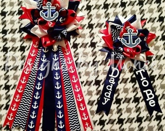 Nautical Theme Baby Shower Corsage for Mommy and Daddy