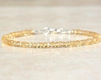 Citrine Gemstone Bracelet, November Birthstone Bracelet, Citrine Jewelry, Silver Beaded Bracelet, Gift for Her, Friendship Bracelet