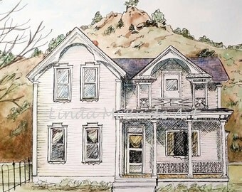 Victorian House 3x3 gift enclosure card from my original watercolor painting with envelope.