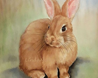 Rabbit 3x3 gift enclosure card from my original watercolor painting with envelope