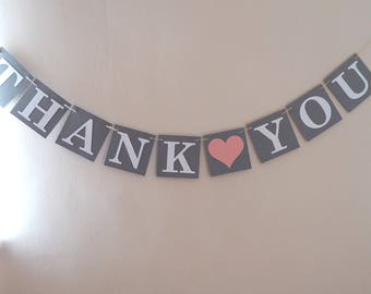 Thank you banner bunting wedding decoration, wedding photo prop, grey, pink