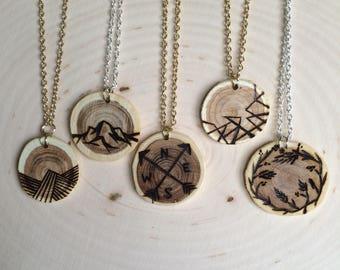 Woodburned Round Pendant Necklace