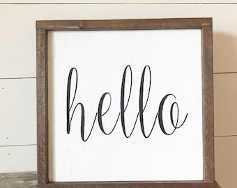 Hello | Framed Wood Sign | Farmhouse Decor