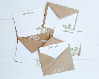Earth Notes Stationary | Hand-stamped | Hand-made Paper | Thank You Notes with Kraft Envelopes