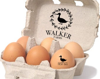 Duck Egg Carton Stamp - Duck Lover Gift - Custom Egg Carton Labels - Farm Name Stamp - Unique Farm Gift - Large Egg Carton Rubber Stamp