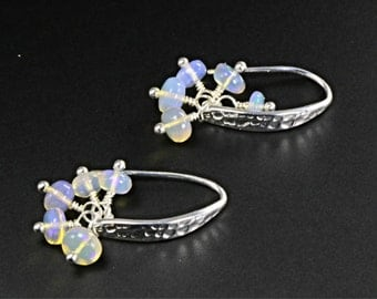 Ethiopian Opal Cluster Earrings, Opal Dangle Earrings, Welo Opal Earrings, Hammered Earrings