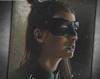 Catwoman - Original Portrait Drawing of Anne Hathaway as Selina Kyle, The Cat from The Dark Knight Rises
