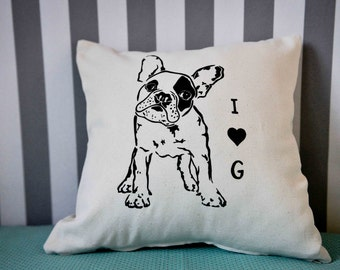 Custom decorative lining with the outline of your puppy, personalized decorative pillow cover with your own puppet silhouette