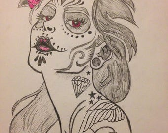 SALE: Day of the Dead Sugar Skull Babe Tattoo Prints