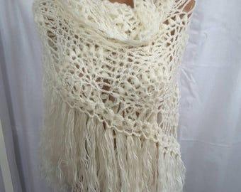 New unique handmade in Ukraine crocheted angora mohair women triangular shawl, wedding shawl wrap