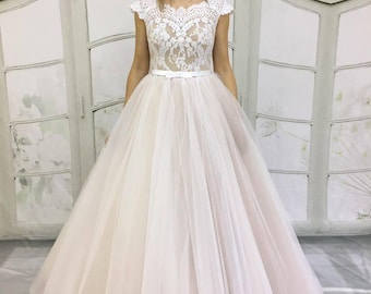 Blush wedding dress,Beige Light-As-Air Wedding Dress  Lace Back ,Tulle Skirt,an off-shoulder ,Illusion Lace Neckline, Open Cutout Back,