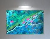 Large Green Abstract, Blue Canvas Painting, Large Abstract Blue, Blue Modern Canvas, Large Blue Abstract, Blue Canvas Wall Art, Teal Modern