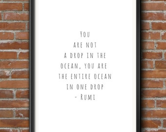 Rumi Quote, Poster Quote, Drop in the Ocean, Wall Art, Large Poster, Minimalist Art, Black & White, Simple Poster, Meaningful, Inspiring