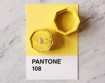 Velvet Ring Box Yellow Octagon Handmade Wedding Vintage  Engagement Gift Bride
