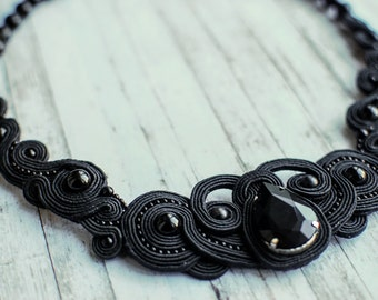 Soutache necklace, Black necklace with agate and crystal, Embroidered necklace, Beaded necklace, Soutache jewelry Gift for her FREE SHIPPING
