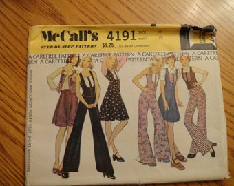 McCalls Vintage 1974 Pants, Vest and Skirt Pattern Size 16 Bust 38